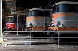 Les BB25555, BB9288 et BB25255 au dépôt de La Mouche, à Lyon.