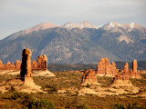 The Arches NP  Rock formations with La Sal Mountains in background