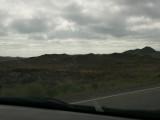 Murky weather and lumpy hills south of Lake Balkash