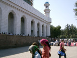 Outside main mosque, Almaty. Friday prayers