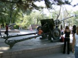 WW11 Field gun at entrance to Panfilov Park