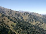 View of the mountains from above the ski lift