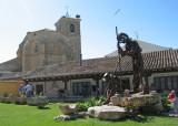 Pilgrim monument at the Boadilla del Camino albergue