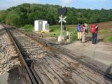 Crossing the train track in Sarria