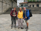 Posing with fellow pilgrims from Belgium