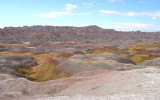 badlands in pink and yellow