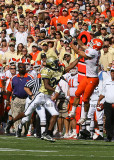 Tiger WR Tyler Grisham goes up over Jacket CB Avery Roberson…