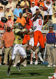 Tiger WR Ford leaps high over GT CB Roberson…