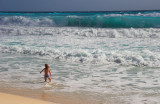 Little Girl and Big Wave