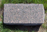 This is the simple gravestone for my 2nd great paternal grandfather, William John Whiston Merrill. It lies in the Merrill Family plot in Riverside Cemetery, Crete, Saline County Nebraska.