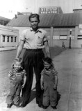 This is a shot of Verne Merrill with his son Danny Floyd Merrill & his nephew, my father, Richard Lee Mann. It was taken in Los Angeles California around 1945. Danny later died of Polio. The original photograph shown was given to me by my grandmother, Hazel Alice Merrill. I am in possession of it still.