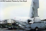 1992 - Zuliana DC8-54(F) YV-460C (ex CF-TJL) damaged by Hurricane Andrew wind forces airline stock photo