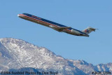 American Airlines MD-82 N408AA with Pike's Peak in the background airline aviation stock photo #2628