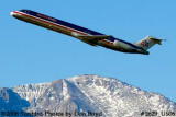 American Airlines MD-82 N408AA with Pike's Peak in the background airline aviation stock photo #2629