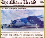 1983 - The Miami Herald - Northeastern B727-21 N357PA landing incident and evacuation