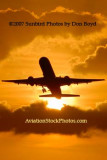 2007 - American Airlines B757-223 takeoff at sunset airline aviation stock photo #3077P