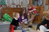 Natalie and Nolan checking out Ellie's new Barbies