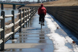 A little leftover snow on the bike path