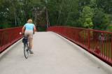 Crossing the suspension bridge in Triangle Park
