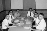 Convention meeting, Clem Poeppelman (center), Henry Seger (second from right)
