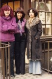 Patricia Ahern (with her aubergine crazy color hair) 1975!! with student and translator.