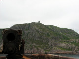 Fort Amherst:  Looking down a gun to Cabot Tower