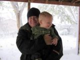 October 2006 - Steve and Kyler with a snowstorm in the background