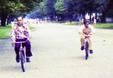 1974 - RDC Art Donley, USCGR and another Coastie on rental bikes in Williamsburg