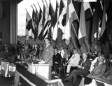 1943 - Pan American Airways President Juan Trippe speaking at new hangar dedication at Pan American Field, Miami