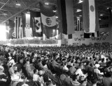 1943 - crowd listening to Pan American President Juan Trippe at new hangar dedication
