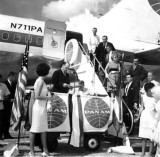 1962 - Pan American Division Manager William F. Raven at inaugural of new MIA-SJU-LIS route with B707-121 N711PA in background