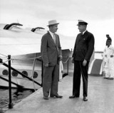 1934 - Igor Sikorsky, famed airplane designer, with Captain Edwin Musick, pioneer of Pan American Airways System