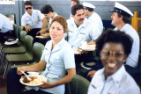 1985 - YN2 Liz Fortner and YN3 Cynthia Murray and a group of reservists at CG Air Station hangar