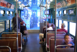 The inside of an L train in Chicago.