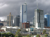 A view of the CBD  and Spencer Street station