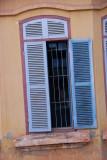 Luang Prabang Window with Blue Slats
