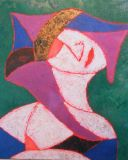 woman with hat-panel 16x20-mixed media-1998.JPG