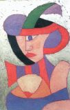 woman with hat-20x28-panel-mixed media-1998.JPG