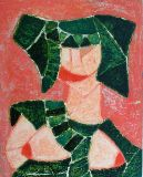 woman with hat-panel 16x20- mixed media-1983.JPG