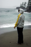Allison facing the stormy waves
