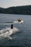 Waterskiing in the cold waters off Mayne Island