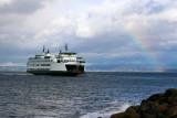 Mukilteo Ferry & rainbow landing in Everett