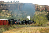 Steaming along the sandstone cliffs