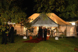 The tent with the red carpet
