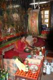 Meditating at Ganden Monastery