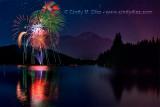 Happy 4th! Fireworks Reflected in Lake Siskiyou, Mount Shasta California