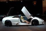 Lovely lady showing off a Lamborghini Murciélago