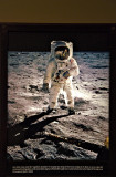 Color shot of man walking on moon