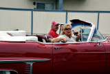 Bob Kagel and wife with awesome 1957 Caddy convertible