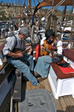 Musicians aboard the Exy Johnson